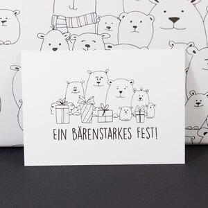 "Postkarte ""Ein bärenstarkes Fest"" - Bow & Hummingbird"