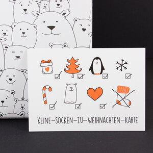 "Postkarte ""Keine-Socken-Karte"" - Bow & Hummingbird"