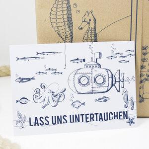Postkarte Untertauchen - Bow & Hummingbird