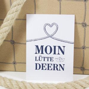 "Postkarte ""Moin lütte Deern"" - Bow & Hummingbird"