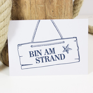 "Postkarte ""Bin am Strand"" - Bow & Hummingbird"