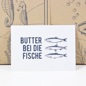 "Postkarte ""Butter bei die Fische"" - Bow & Hummingbird"