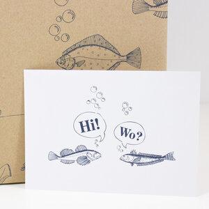 """Postkarte """"Treffen sich 2 Fische"""" - Bow & Hummingbird"""
