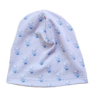 Kinder Beanie Mütze Mäuse Bio Baumwolle Interlock grau blau Babymütze - betus