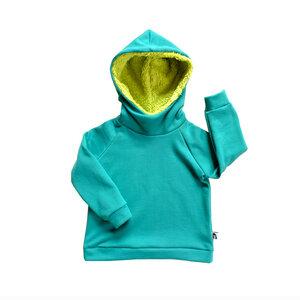 Kinder Kapuzenpullover mit Teddy Kapuze Bio Baumwolle Sweat grün - betus