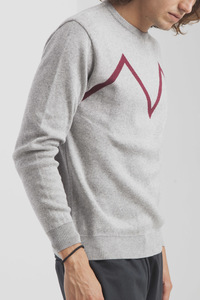 Lässiger grauer Strickpullover - 'M' Sweater - thinking mu