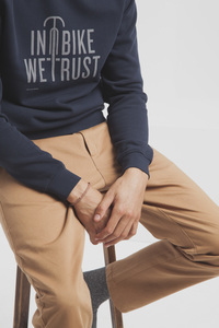 In Bike We Trust Sweatshirt - Modischer blauer Sweater mit Statement-Print für Herren - thinking mu
