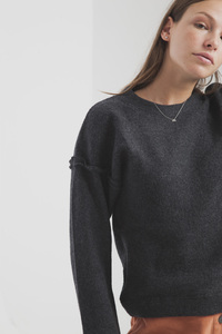 Schwarzer Winterstrickpullover - Black Wool Sweatshirt - thinking mu