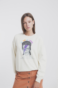 Retro Print Sweater in beige - Bowie Sweatshirt - thinking mu