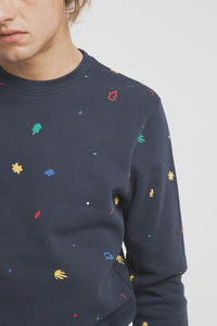 Matisse Leafs Sweatshirt - Modischer blauer Sweater mit All-Over Print für Herren - thinking mu