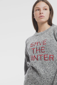 Melierter bestickter Strickpullover - Save the Winter Sweater - thinking mu