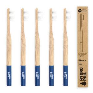 Zahnbürste aus Bambus | 4erPack | extra weich | dunkelblau - HYDROPHIL