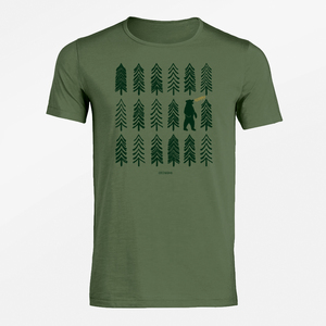 T-Shirt Adores Slub Nature Bear Forest - GreenBomb