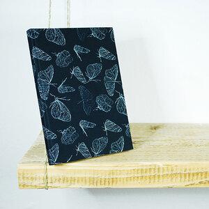 """Handbezogenes Notizbuch, Skizzenbuch mit Bio-Stoff  """"Butterfly Black"""" - Biostoffe Berlin by Julie Cocon"""