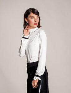 Langarmshirt Rollkragen VIskose schwarz-weiß Ärmel gerafft Manschetten - SinWeaver alternative fashion