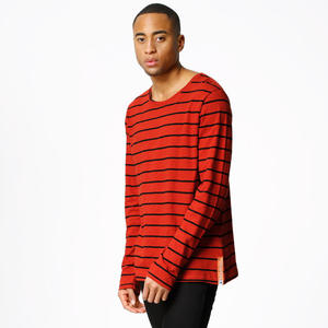 Longsleeve Orvar Stripe - blood orange - Nudie Jeans