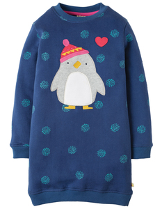 Eloise Jumper Dress Schneeball Pinguin GOTS - Frugi