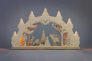 """Kleiner Schwibbogen """"Hirschfamilie""""  7 flammig  auch LED Beleuchtung wählbar - Weigla® Holzkunst"""