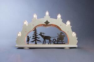 """Kleiner Schwibbogen """"Weihnachtsmann auf Schlitten""""  7 flammig  auch LED Beleuchtung wählbar - Weigla® Holzkunst"""