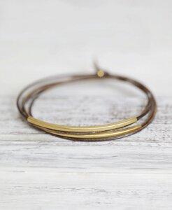 """pikfine Leder Tube Armband """"Tingval"""" // Vintage Braun Teak vergoldet - pikfine"""