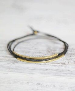 "pikfine Leder Tube Armband ""Tingval"" // Anthrazit Graugrün vergoldet - pikfine"
