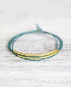 "pikfine Leder Tube Armband ""Tingval"" // Petrol Grün vergoldet - pikfine"