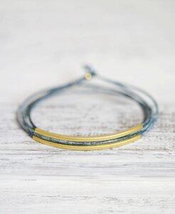 """pikfine Leder Tube Armband """"Tingval"""" // Vintage Blau vergoldet - pikfine"""