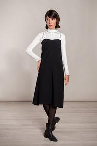 Kurzes Kleid knielang weit schwarz Träger weiß Stickerei Schrift - SinWeaver alternative fashion