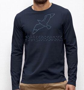 Möwe / Möwen  Langarm T-Shirt für Männer in navy ( dunkel blau ) - Picopoc