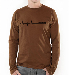 Deadline ;) Langarm T-Shirt in Braun - Picopoc
