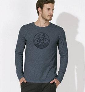 Fahrrad / Bike / Stadt / Land / Natur / outdoor / Langarm T-Shirt in Blau & Schwarz - Picopoc