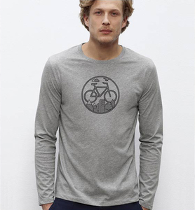 Fahrrad / Bike / Stadt / Land / Natur / Outdoor / Langarm T-Shirt in Grau & Schwarz - Picopoc