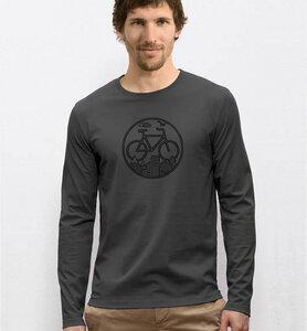 Fahrrad / Bike Langarm T-Shirt in Grau & Schwarz - Picopoc