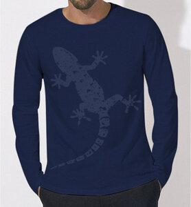 Gecko Langarm T-Shirt für Männer in navy ( dunkel blau ) - Picopoc