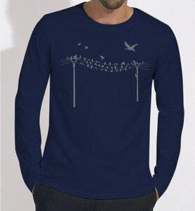 Vögel auf Strommast Langarm T-Shirt für Männer in Dunkelblau / Navy Blau - Picopoc