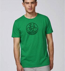 Fahrrad / Stadt & Natur, Berge & Bäume T-Shirt in Grün & Schwarz - Picopoc