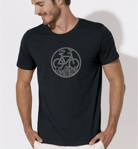 Fahrrad / Stadt & Natur, Berge & Bäume T-Shirt in Schwarz & Weiß - Picopoc