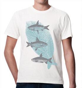 Fliegende Fische T-Shirt für Männer in Weiß, Grau & Blau - Picopoc