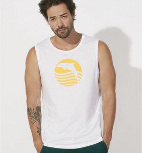 Sonnenaufgang mit Delfin / Ärmelloses T-Shirt in weiß - Picopoc