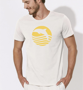 T-Shirt Delfin / Sonnenaufgang mit Delphin in weiss - Picopoc