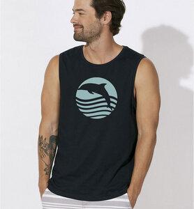 """Delphin T-Shirt, ärmellos """" Sonnenuntergang mit Delfin """" in schwarz - Picopoc"""