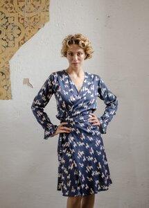 "Blaues Wickelkleid  Rena mit ""Alpaka Muster"" - ManduTrap"