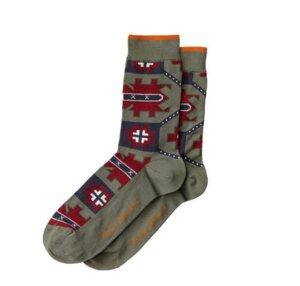 Olsson Check Socks - Grass, Desert Green, Burnt Red - Nudie Jeans