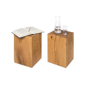 Holzklotz Beistelltisch 30x30x50 cm Eiche Massivholzblock Holzblock - GreenHaus