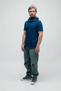 AMOR, Washed Denim T-Shirt aus Bio Baumwolle - Green-Shirts