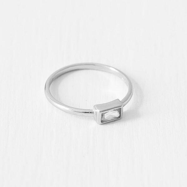 Baguette Ring Aus 925 Sterlingsilber Vergoldet