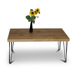 Balken Couchtisch 100x60 cm Wildeiche Massivholz Beistelltisch Tisch - GreenHaus