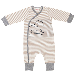Baby Wickeloverall braun geringelt Bio People Wear Organic - People Wear Organic