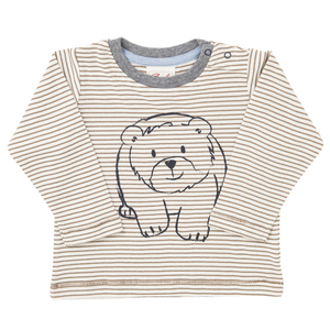 Baby Langarmshirt braun geringelt Bio Baumwolle People Wear Organic - People Wear Organic