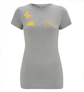 Schmetterling und Schnecke T-Shirt in Grau & Gelb Orange / Figurbetont / Eng - Picopoc